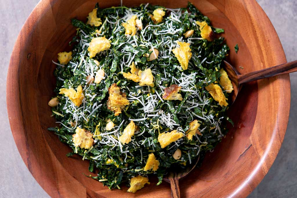 You got the munchies? Make kale with crouton crunchies!